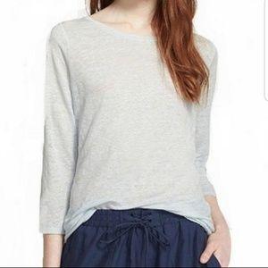 VINCE Linen 3/4 Sleeve Burnout Knit Tee Light Blue